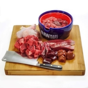 Chunky Beef Chicken Raw dog food meal from Raw Made Simple