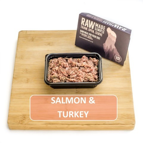 Salmon and turkey raw dog food mix