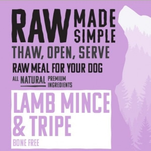 Lamb Mince and tripe raw dog food